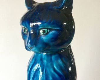 "12"" Indigo Blue Mood Ceramic Egyptian CAT Figurine  Inarco E-2883 1950s"