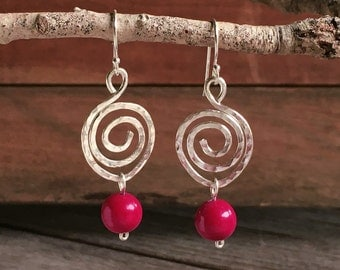 Hammered Spiral & Red Howlite Drop Earrings, sterling silver, gemstone, hand-forged