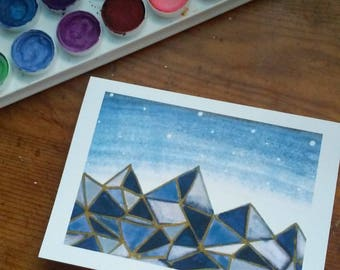 "Watercolor Geometric Mountains Card - 4""x5.5"""