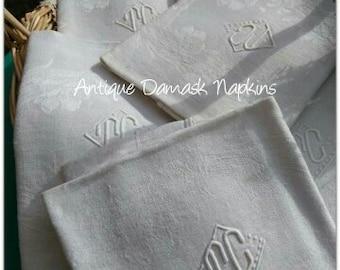 Antique White Floral Damask Napkins Large Set of 6 Linen French Napkins Monogrammed #SophieLadyDeParis