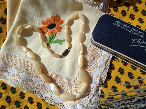 Antique French MOP Choker Necklace Oblong Mother of Pearl Beads in Original Blue French Paper Box#sophieladydeparis