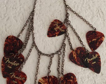 Tortoise Shell Guitar Pick Necklace on Copper Chain