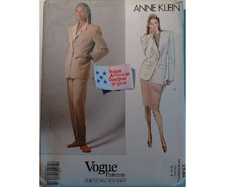 """Part UNCUT with Label Vogue 2544 American Designer Anne Klein Tailored Suit Pattern Jacket Skirt Trousers 2 Sizes Bust 34"""" 36"""" UK 12 14"""