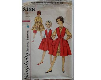 """Cut Vintage 50's Simplicity 3138 Girl's One-Piece Dress and Pinafore Jumper Over Dress Bust 26"""""""