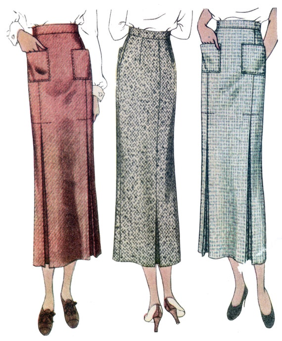 1930s Fashion Colors, Clothing & Fabric 1930s Ladies Skirt With Patch Pockets- Reproduction Sewing Pattern #T8354 $14.50 AT vintagedancer.com