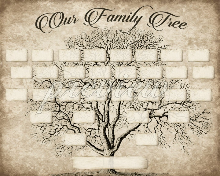 Custom family tree printable 5 generation template instant - Tree images free download ...