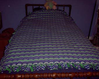 Blue and Green Scalloped Throw
