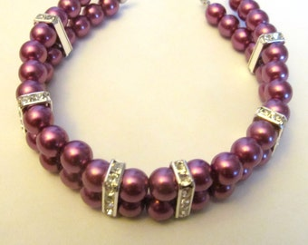 Small Dog Collar Necklace Plum Pearl, Dog Pearl Collar, Pet Collar Bling, Pet Pearl Collar, Pet Birthday Gift,