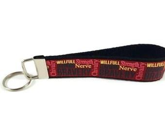 Harry Potter key fob,  Gryffindor  key chain, Gryffindor wristlet keychain, Fabric Wristlet, Fabric Key Ring