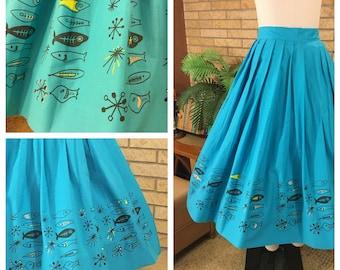 Vtg 1950's Atomic Novelty Fish Border Print Full Skirt Size S