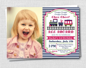 Girl Train Birthday Party Photo Invitation - Choo Choo Train Girl Birthday Party - Digital Design or Printed Invitations - FREE SHIPPING