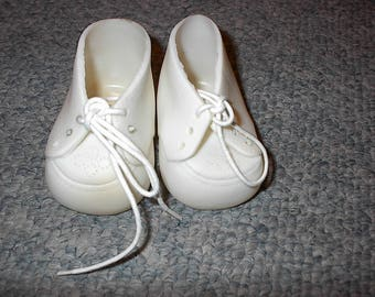 HALF PRIC SALE White Vintage Doll Shoes With White Shoestrings Was 4.00 Now 2.00