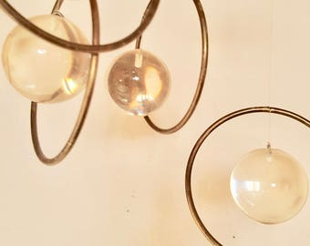 Midcentury Lucite Mobile WInd Chime Orbs Kinetic Decor