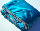 Blue Satin Blanket Throw - Silver Trim - Blue and Silver Home Decor - Blue Blanket Silver Accent