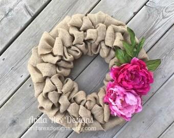 Burlap Wreath, Spring Wreath, Spring Burlap Wreath, Peonies Flower Wreath, Flower Wreath, Rustic Wreath