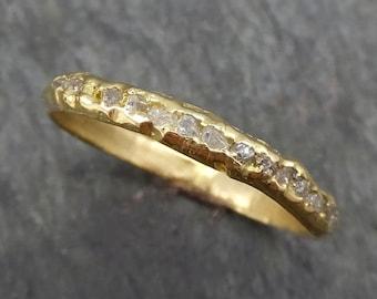 Raw Rough Uncut  Diamond Wedding Band 14k 18k Gold Diamond Wedding Ring byAngeline C0380