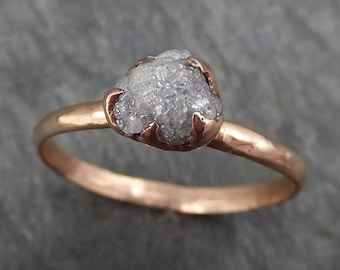 Raw Diamond Solitaire Engagement Ring Rough 14k rose Gold Wedding Ring diamond Wedding Set Stacking Ring Rough Diamond Ring byAngeline 0381