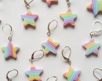 Star Stitch Markers. Pastel stripes. Pastel rainbow stitch markers. Universal for knitting and crochet. Ready to ship