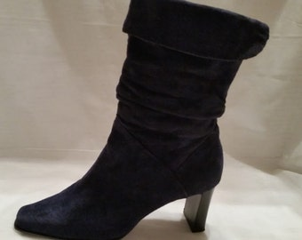 Blue Genuine Suede Leather Calf Boots. Fold Over Calf Suede Boots. Soft Suede Leather Navy Blue Women's Boots. Blue Suede Pull On Boots SALE