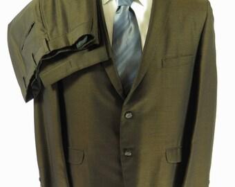 Vintage 60s Bronze Sharkskin Suit 2 Piece Mens 42 34 x 27 Towncraft Rat Sinatra [H73R_2-11]