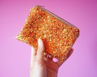 Burnt Orange Glitter Coin Purse, Sparkly Orange Coin Pouch, Glitter Zipped Pouch, Burnt Orange Zipped Purse, Gifts For Her, Sparkly Purse,