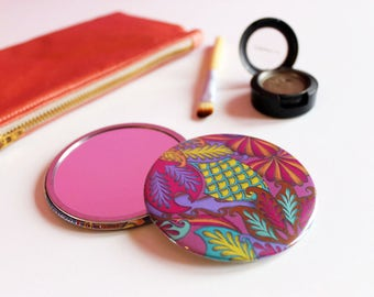 Pink Pocket Mirror, Colourful Compact Mirror, Patterned Travel Mirror, Colourful Pocket Mirror, Pink Compact Mirror, Bubblegum Pink,