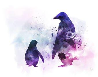 Penguin, Mother and Baby ART PRINT Illustration, Animal, Wildlife, Wall Art, Home Decor, Gift