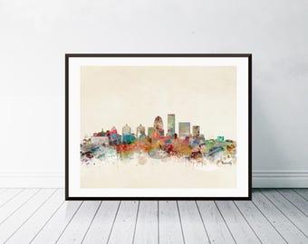louisville kentucky skyline . louisville cityscape. louisville city skyline. colorful watercolor skyline.Giclee art print.color your world
