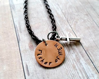 Fisher of Men Necklace- Christian, Faith, Hand Stamped Jewelry- Matthew 4:19 - Men Jewelry