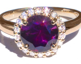 2.14 ct Royal Purple Spinel and Diamond 18K Designer Ring