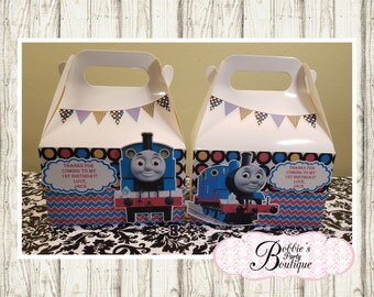 Thomas the Train favor box, Thomas the Train gable box, 10 Thomas the Train party favor gable box, Thomas favor box