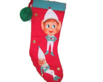 Rubber Face Pixie Santa Elf Japan Christmas Felt Stocking Sock Applique Foil Gold Stars Pom Pom Fun Fur Beard Hanging Decoration Ornament
