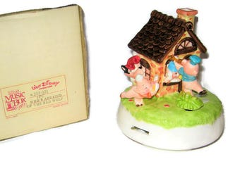Disney Schmid Three Little Pigs Music Box Rotating Who's Afraid of the Big Bad Wolf Porcelain Ceramic Figure Figurine Vintage Japan w/box