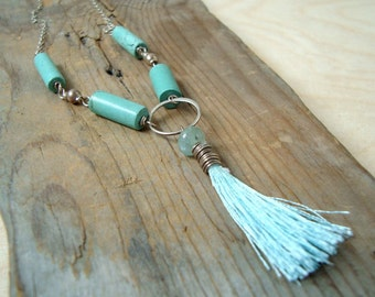 Turquoise Tassel Necklace With Aquamarine Boho Chic Jewelry March Birthstone December Birthstone Sterling Silver Statement Necklace