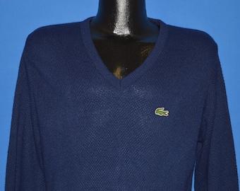 80s Blue Izod Lacoste Pullover Sweater Medium