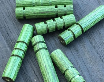 Wood beads, Customizable, 7 pieces, Green , hand carved