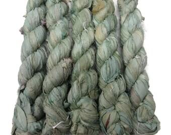 50g Recycled Sari Silk Ribbon, Mint