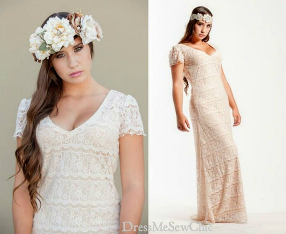 Beige Elegant V Neck Bridesmaid Dress: Blush Beige Bohemian Wedding Maxi Lace Dress V Neck Long