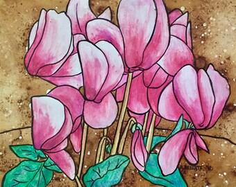 Pink Cyclamen Botanical Original Bohemian Art
