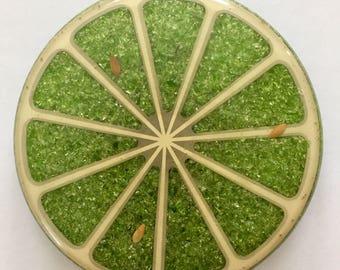 Vintage Wondermold Resin and Crushed Glass Green Lime Slice Trivet - Hot Plate