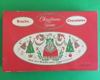 Vintage Brach's Christmas Time Chocolates Box- E.J. Brach & Sons, Chicago