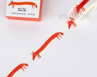 Red fox washi tape,Animal washi tape,masking tape,Planner sticker,scrapbooking,Wedding deco,Gift wrap