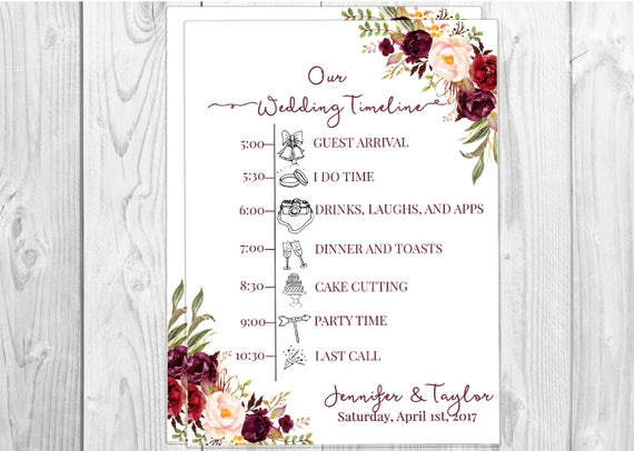 wedding timeline printable timeline custom timeline weekend itinerary itinerary template order of events wedding icon custom schedule