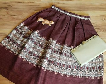 Vintage 50s  Brown White Embroidered  Print Bell Shaped Skirt Small 24 Waist