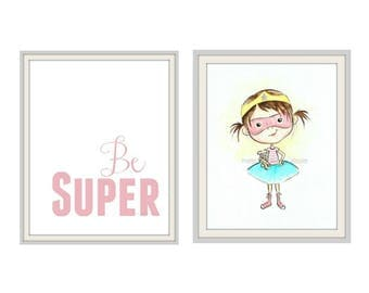 Superhero Wall art / Super Girl Childrens Wall Art Illustration/ aqua/ Pink girls room art, Superhero decor
