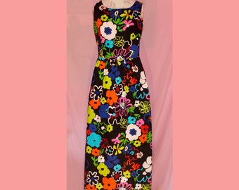 Amazing GROOVY 60s poppy lanz floral maxi dress