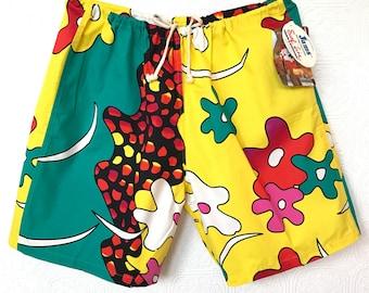 color-block retro flora shorts By Jams World Hawaii