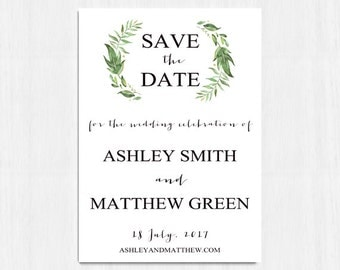 Greenery Save the Date, Green Save the Date, Leaves Save the Date, Green Wreath Watercolor Save the Date, Botanical Save the Date, Nature