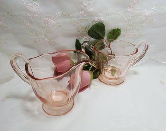 Vintage circa 1930 - 40s, Fairfax Pink (Rose) by Fostoria Footed Cream and Open Sugar, Depression Glass
