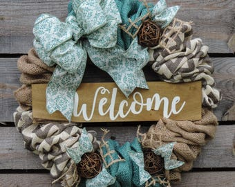 Turquoise Chevron Burlap Welcome Wreath